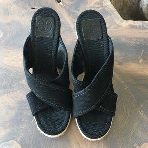 Tory Burch Black Espadrille Wedge Sandal EUC